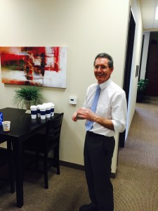 Anchor Brian Morrin helped bring the coffee and mugs for Mugshot Monday!
