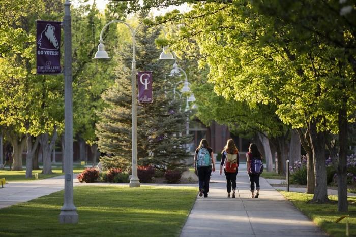 Students walk between classes.